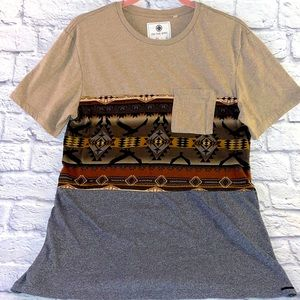 On The Byas Tribal Western Color Block Crew Tee